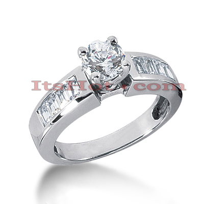 14K Gold Round and Baguette Diamond Designer Engagement Ring 1.14ct Main Image