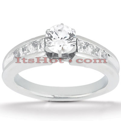 14K Gold Prong and Channel Set Diamond Designer Engagement Ring 1.14ct Main Image