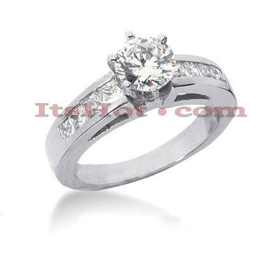 14K Gold Princess and Round Diamond Designer Engagement Ring 1.14ct Main Image