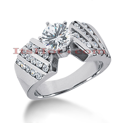 14K Gold Prong and Channel Diamond Designer Engagement Ring 1.20ct Main Image