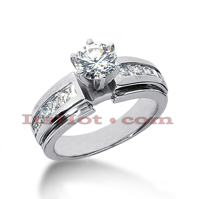 14K Gold Channel and Prong Set Diamond Designer Engagement Ring 1.20ct Main Image