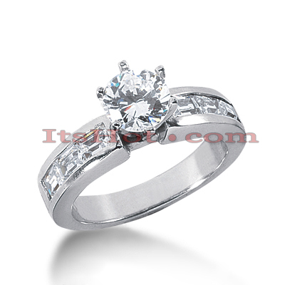 14K Gold Prong and Channel Set Diamond Designer Engagement Ring 1.22ct Main Image