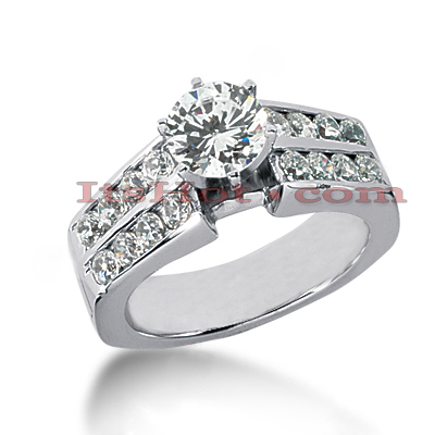 14K Gold Prong and Channel Set Diamond Designer Engagement Ring 1.30ct Main Image
