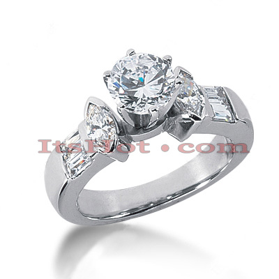 14K Gold Prong Set Diamond Designer Engagement Ring 1.30ct Main Image