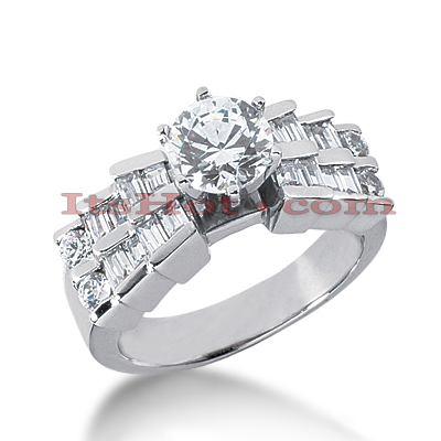 14K Gold Round and Baguette Diamond Designer Engagement Ring 1.34ct Main Image