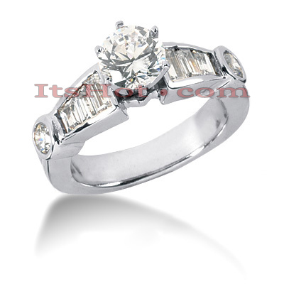 14K Gold Round and Baguette Diamond Designer Engagement Ring 1.36ct Main Image
