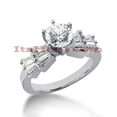 14K Gold Prong Set Diamond Designer Engagement Ring 1.36ct Main Image