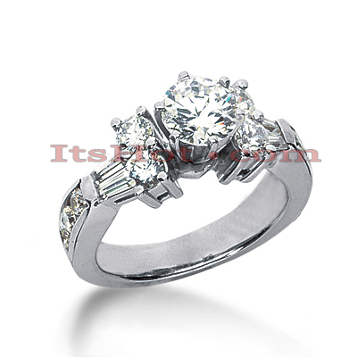 14K Gold Prong and Channel Set Diamond Designer Engagement Ring 1.36ct Main Image