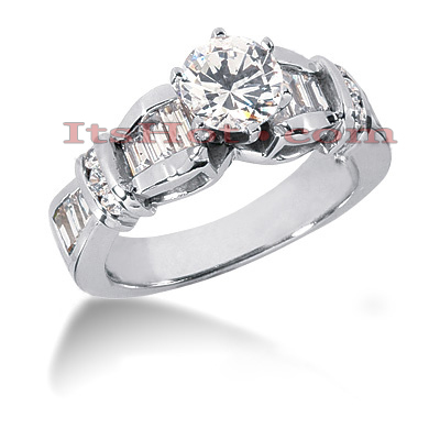 14K Gold Baguette and Round Diamond Designer Engagement Ring 1.40ct