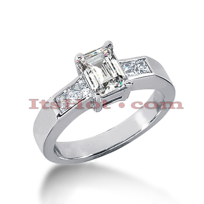 14K Gold Princess and Emerald Cut Diamond Designer Engagement Ring 1.40ct Main Image