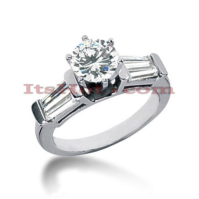 14K Gold Round and Baguette Diamond Designer Engagement Ring 1.50ct Main Image