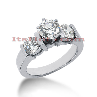 14K Gold 3 Stone Diamond Designer Engagement Ring 1.50ct Main Image