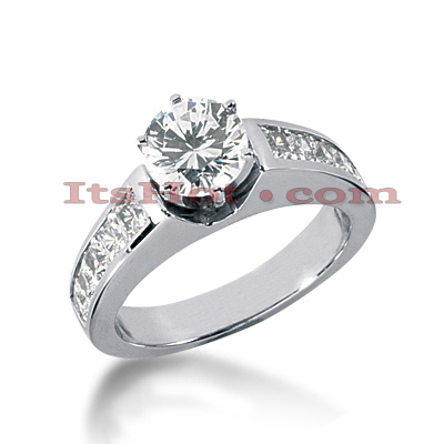 14K Gold Prong and Channel Set Diamond Designer Engagement Ring 1.50ct Main Image