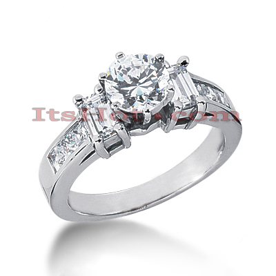 14K Gold Prong and Channel Set Diamond Designer Engagement Ring 1.58ct Main Image