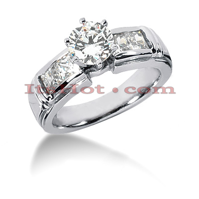 14K Gold Channel and Prong Set Diamond Designer Engagement Ring 1.58ct Main Image