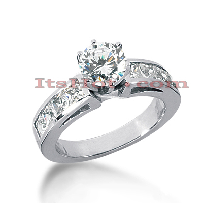 14K Gold Prong and Channel Set Diamond Designer Engagement Ring 1.62ct