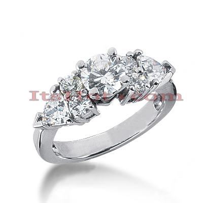 14K Gold Prong Set Diamond Designer Engagement Ring 1.74ct