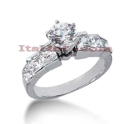 14K Gold Princess and Round Diamond Designer Engagement Ring 1.98ct Main Image