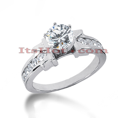 14K Gold Round Diamond Designer Engagement Ring 1ct Main Image