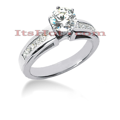 14K Gold Channel and Prong Set Diamond Designer Engagement Ring 1ct Main Image