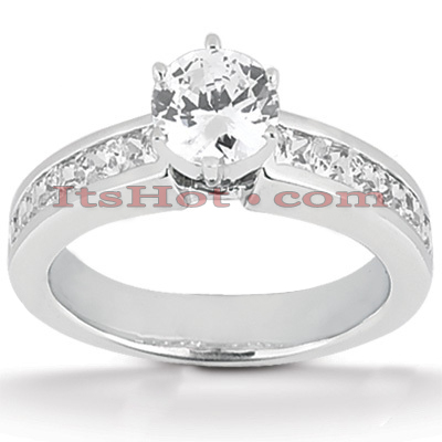 14K Gold Diamond Prong and Channel Set Designer Engagement Ring 1ct Main Image