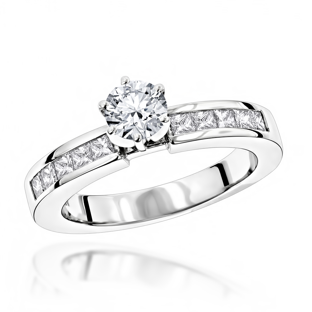14K Gold Handmade Princess and Round Diamond Designer Engagement Ring 1ct White Image