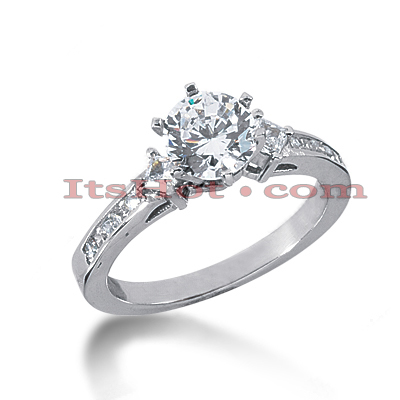 14K Gold Diamond Designer Channel and Prong Set Engagement Ring 1ct Main Image