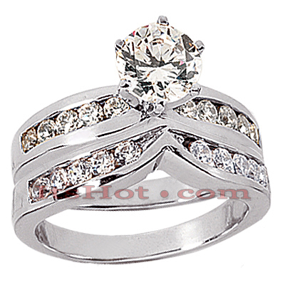 14K Gold Diamond Designer Engagement Ring Set 0.65ct Main Image
