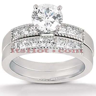14K Gold Diamond Designer Engagement Ring Set 0.95ct Main Image