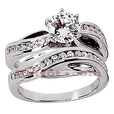 14K Gold Diamond Designer Engagement Ring Set 0.97ct Main Image