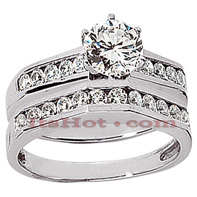 14K Gold Diamond Designer Engagement Ring Set 1.16ct Main Image
