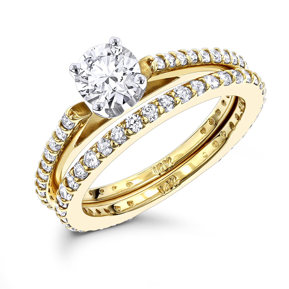 14K Gold Round Diamond Designer Engagement Ring Set with Band 1.19ct Yellow Image