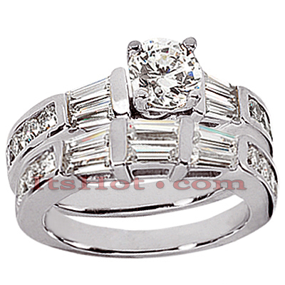 14K Gold Diamond Designer Engagement Ring Set 1.32ct
