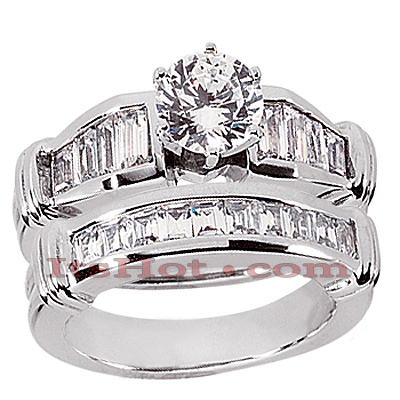 14K Gold Diamond Designer Engagement Ring Set 1.34ct Main Image