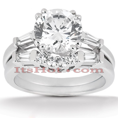 14K Gold Handmade Diamond Designer Engagement Ring Set 1.37ct Main Image