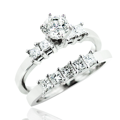 14K Gold Diamond Designer Engagement Ring Set 1.40ct  Main Image