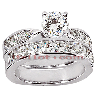 14K Gold Diamond Designer Engagement Ring Set 1.42ct Main Image