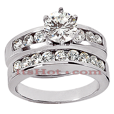 14K Gold Handmade Diamond Designer Engagement Ring Set 1.49ct