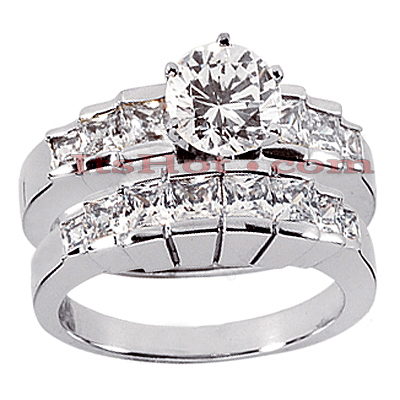 14K Gold Diamond Designer Engagement Ring Set 1.50ct Main Image