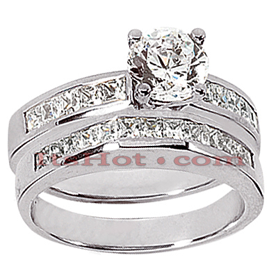 14K Gold Diamond Designer Engagement Ring Set 1.52ct