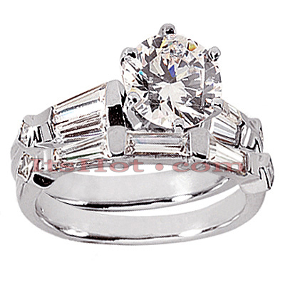 14K Gold Diamond Designer Engagement Ring Set 1.62ct