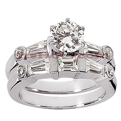 14K Gold Diamond Designer Engagement Ring Set 1.74ct
