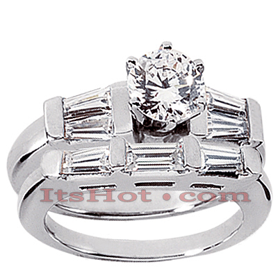 14K Gold Diamond Designer Engagement Ring Set 1.75ct