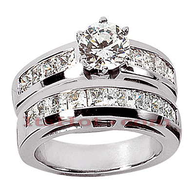 14K Gold Diamond Designer Engagement Ring Set 2.30ct Main Image