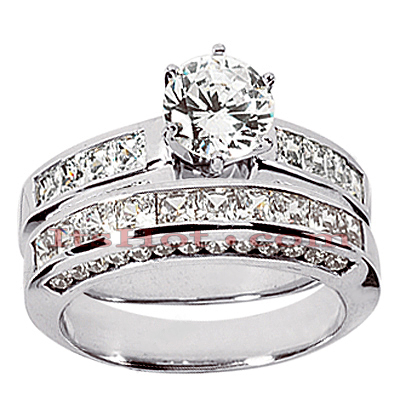 14K Gold Handmade Diamond Designer Engagement Ring Set 2.42ct