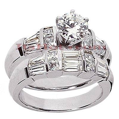 14K Gold Diamond Designer Engagement Ring Set 2.50ct Main Image