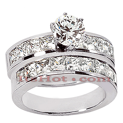 14K Gold Diamond Designer Engagement Ring Set 2.89ct Main Image
