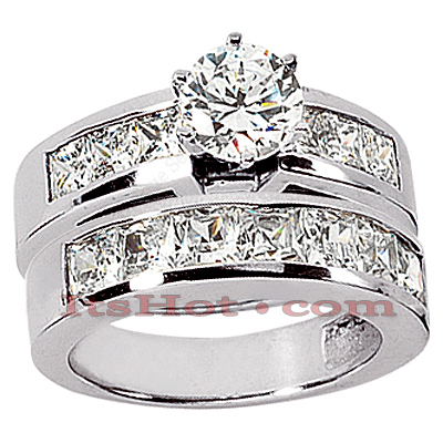 14K Gold Diamond Designer Engagement Ring Set 2.92ct Main Image