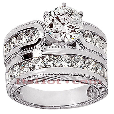 14K Gold Diamond Designer Handmade Engagement Ring Set 2ct Main Image