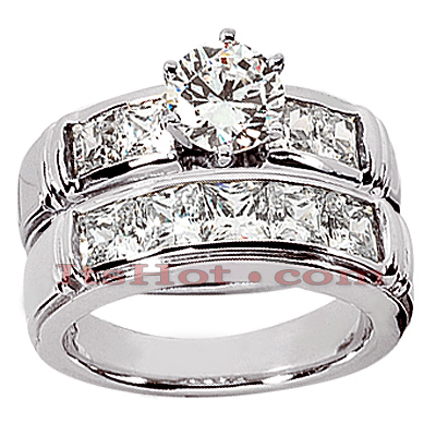 14K Gold Diamond Designer Engagement Ring Set 3.08ct Main Image